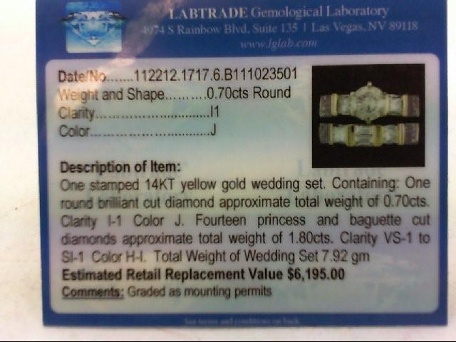 Lady's Diamond Wedding Set 15 Diamonds 2.50 Carat T.W. 14K Yellow Gold 7.92g