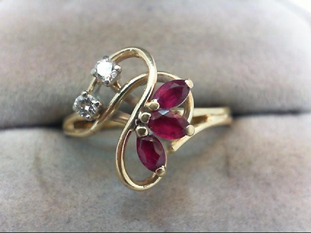 Ruby Lady's Stone & Diamond Ring 2 Diamonds .10 Carat T.W. 14K Yellow Gold 2.5g