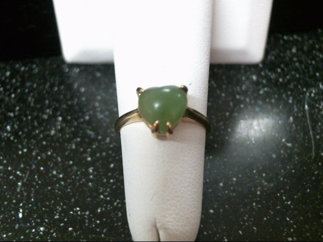 Green Stone Lady's Stone Ring 10K Yellow Gold 1.7g Size:5