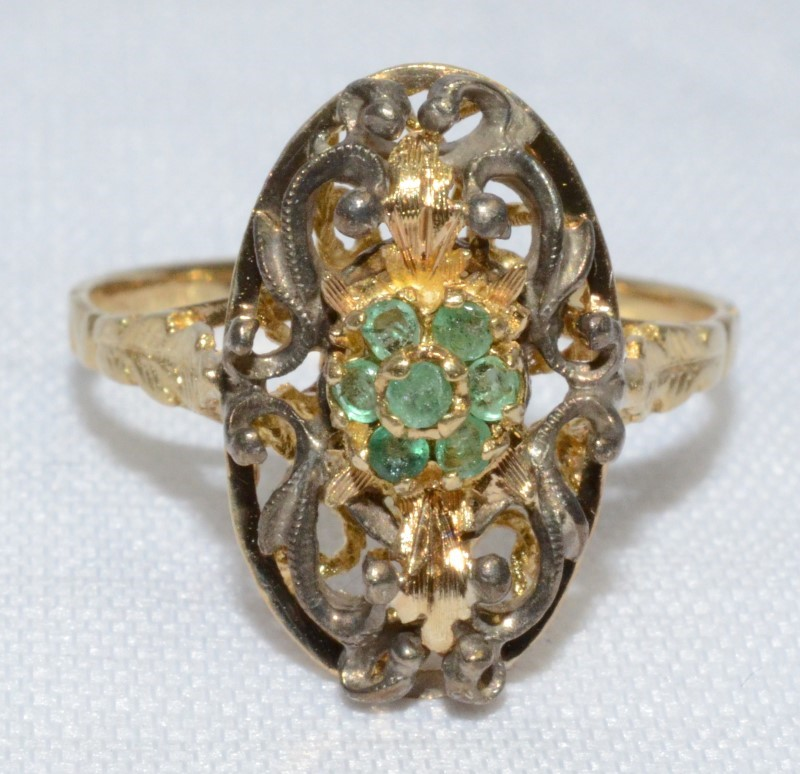 18K Yellow Gold Vintage Inspired Floral Filigree Emerald Cluster Ring Size 8