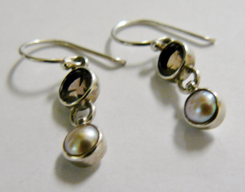 Smokey Quarz & Pearl Earrings 925 Silver 1.8dwt