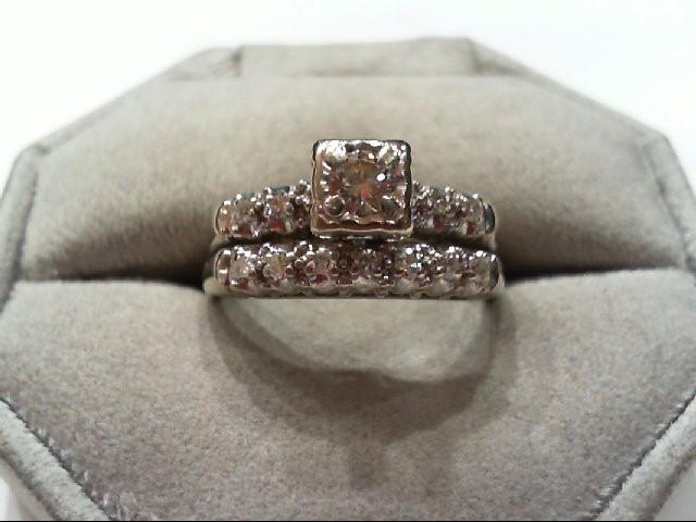 Lady's Diamond Wedding Set 12 Diamonds .42 Carat T.W. 14K White Gold 6.3g