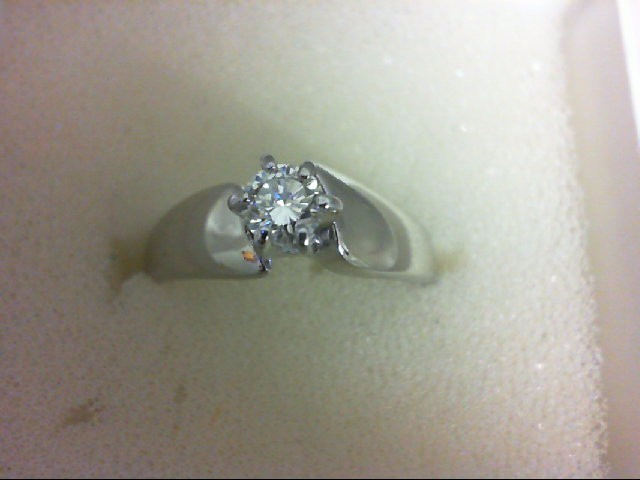 Lady's Diamond Solitaire Ring 0.3 CT. 14K White Gold 3.6g