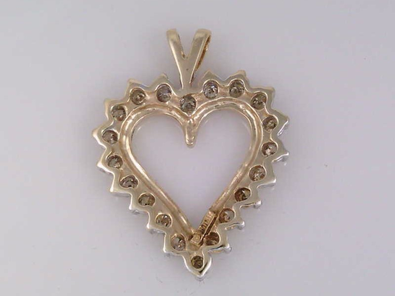 VINTAGE NATURAL DIAMOND HEART PENDANT CHARM SOLID REAL 10K GOLD LOVE