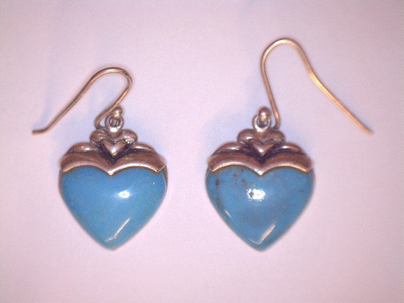 Turquoise Silver-Stone Earrings 925 Silver 6.8dwt