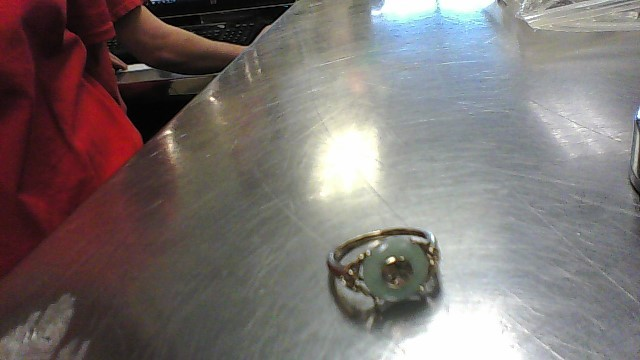 Jade Lady's Stone Ring 14K Yellow Gold 3g