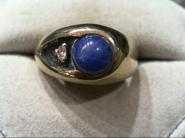 Synthetic Star Sapphire Gent's Stone & Diamond Ring .08 CT. 10K White Gold 6.2g