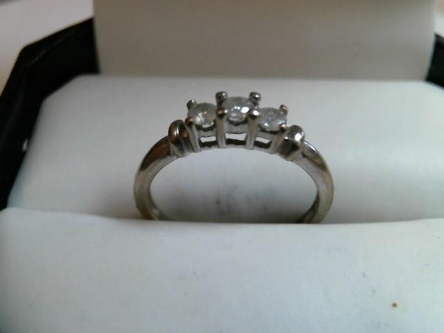 Lady's Diamond Wedding Band 3 Diamonds 0.03 Carat T.W. 10K White Gold 1.2dwt