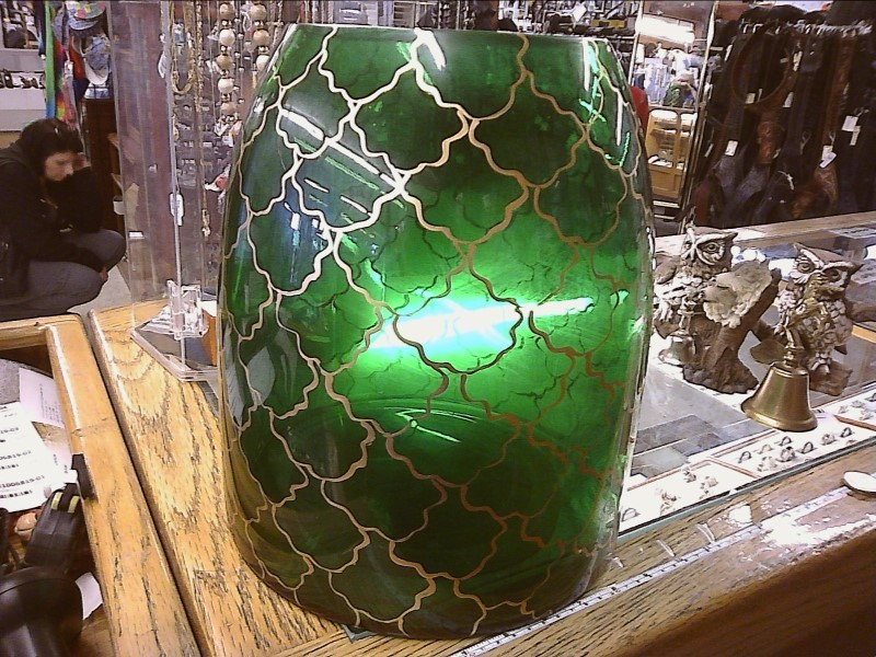 GREEN GLASS TALL VASE W/GOLD ACC