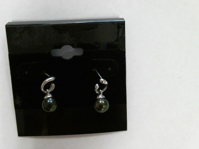 Synthetic Pearl Gold-Stone Earrings 18K White Gold 4.3dwt