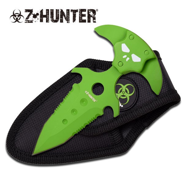"ZOMBIE HUNTER MODEL ZB-030GN, FIXED BLADE PUSH KNIFE, 5"", NYLON POUCH"