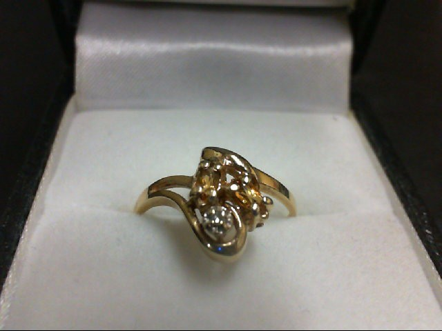 Synthetic Yellow Stone Lady's Stone Ring 10K Yellow Gold 1.4g