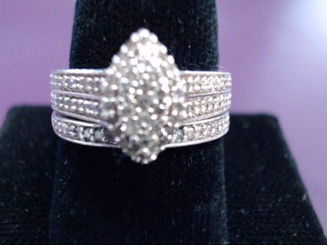 Lady's Silver-Diamond Ring 33 Diamonds .33 Carat T.W. 925 Silver 6.1g