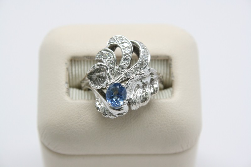 LADY'S ANTIQUE STYLE TANZANITE & DIAMOND RING 14K WHITE GOLD