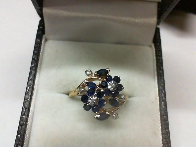 Sapphire Lady's Stone & Diamond Ring 6 Diamonds 0.06 Carat T.W. 14K Yellow Gold