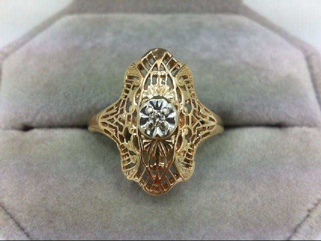 Lady's Diamond Solitaire Ring 0.01 CT. 14K Yellow Gold 2.7g Size:8.5