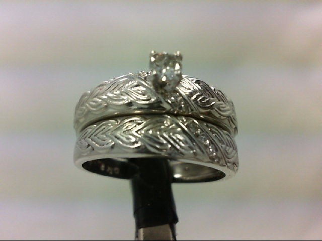 Platinum-Diamond Wedding Set 4 Diamonds 0.15 Carat T.W. 999 Platinum 8g Size:7