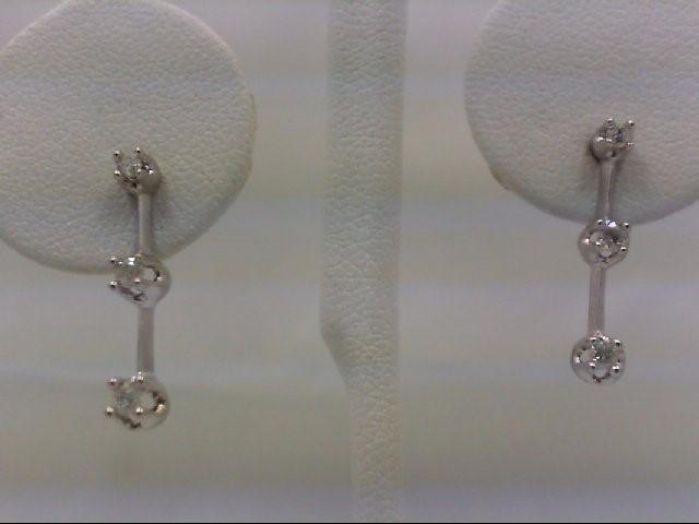 Gold-Diamond Earrings 6 Diamonds 0.26 Carat T.W. 14K White Gold 1.5g