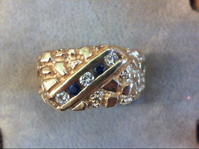 Synthetic Sapphire Gent's Stone & Diamond Ring 3 Diamonds .18 Carat T.W.