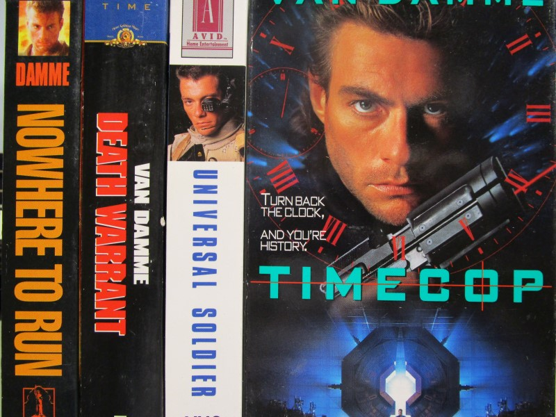 "JEAN-CLAUDE VAN DAMME VHS MOVIE LOT, 4 TAPES, ""TIMECOP"", ""UNIVERSAL SOLDIER"""