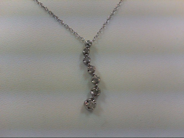 Silver-Diamond Pendant 7 Diamonds .18 Carat T.W. 925 Silver 2.2g
