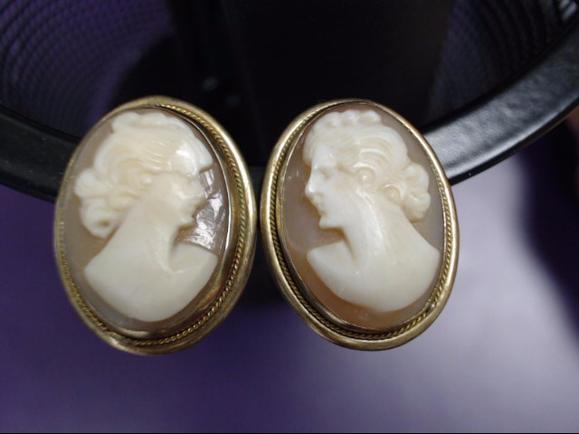 Cameo Gold-Stone Earrings Yellow Gold Filled 6.6g