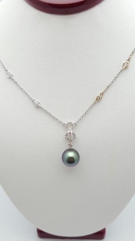 Pearl Diamond & Stone Necklace 24 Diamonds .31 Carat T.W. 18K White Gold 4.2g