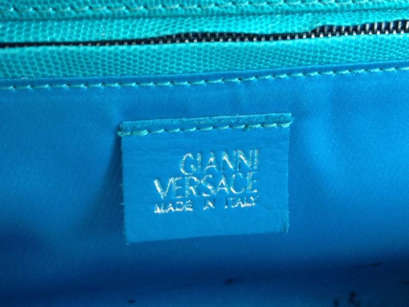 GIANNI VERSACE VINTAGE LEATHER TEAL SHOULDER BAG