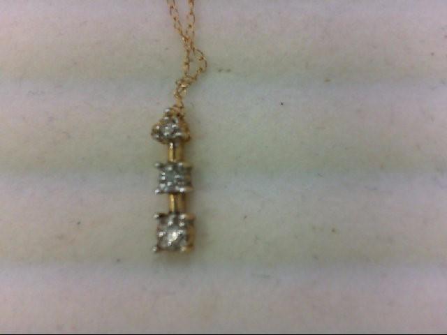 Gold-Multi-Diamond Pendant 3 Diamonds .06 Carat T.W. 10K Yellow Gold 1g