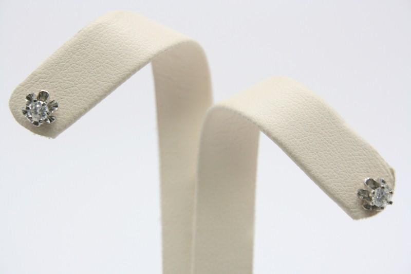 ANTIQUE STYLE DIAMOND STUD EARRINGS 14K WHITE GOLD