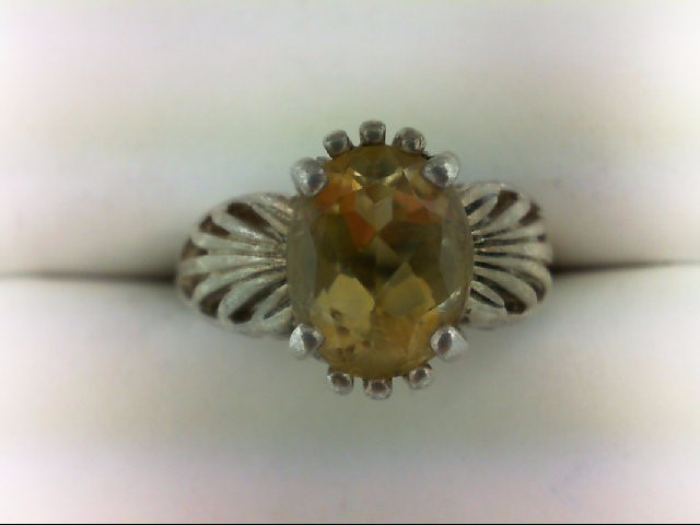 Citrine Lady's Silver & Stone Ring 925 Silver 4.1g Size:7