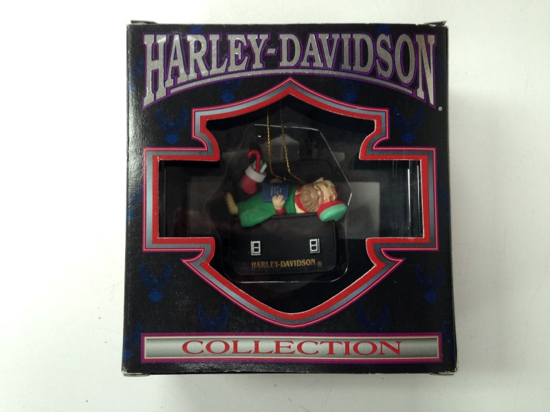 HARLEY DAVIDSON MOTORCYCLE COLLECTION ELF SLEEPING ON BAG ORNAMENT