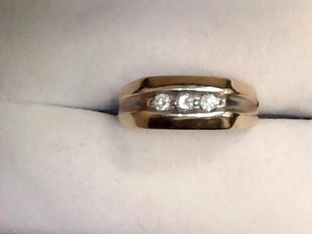 Gent's Diamond Cluster Ring 3 Diamonds .30 Carat T.W. 10K Yellow Gold 3.4dwt