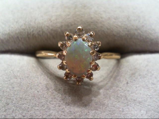 Opal Lady's Stone & Diamond Ring 12 Diamonds .36 Carat T.W. 14K Yellow Gold