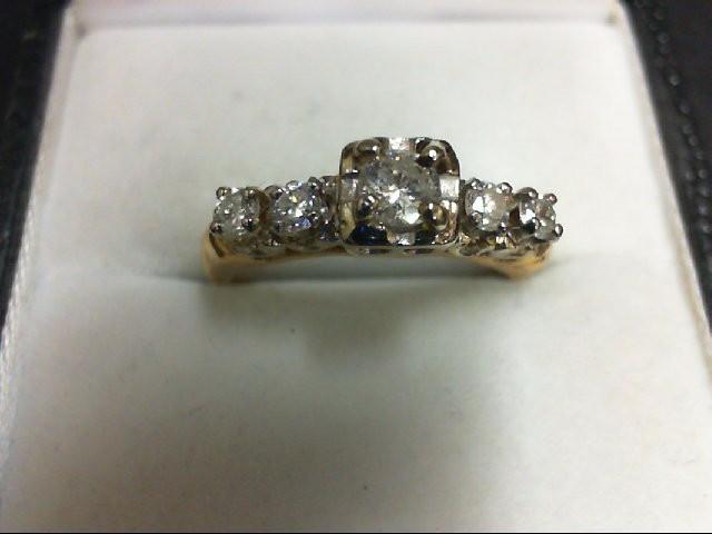 Lady's Diamond Engagement Ring 5 Diamonds 0.46 Carat T.W. 14K Yellow Gold 2.8g