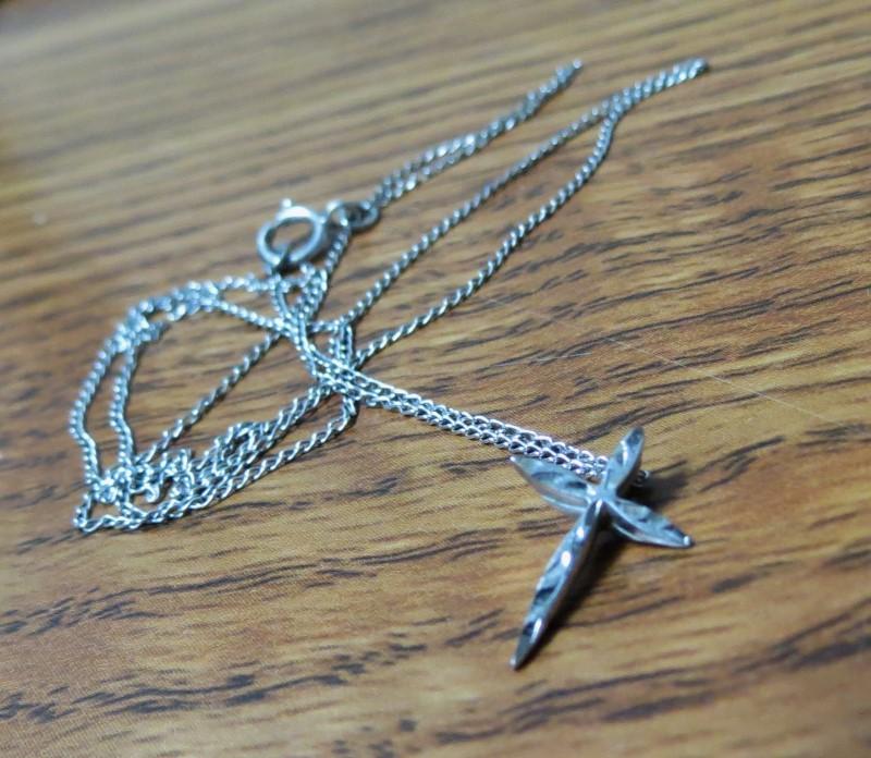 """20"""" Fine silver chain with 1/2"""" Delicate Cross"""