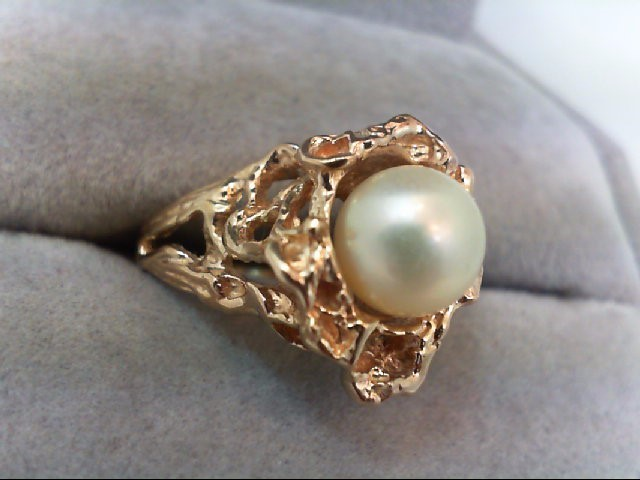 Pearl Lady's Stone Ring 10K Yellow Gold 4.2g