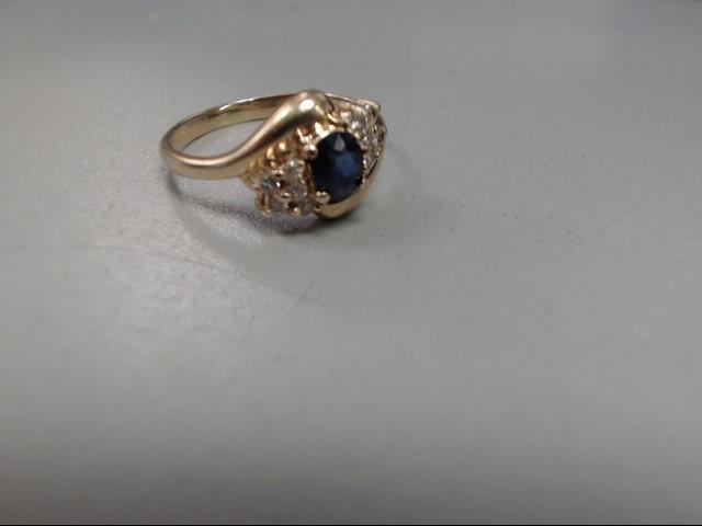 Blue Stone Lady's Stone & Diamond Ring 10 Diamonds .20 Carat T.W.