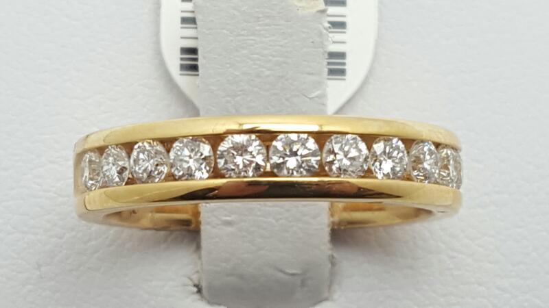 Lady's Gold-Diamond Anniversary Ring 11 Diamonds .77 Carat T.W. 14K Yellow Gold