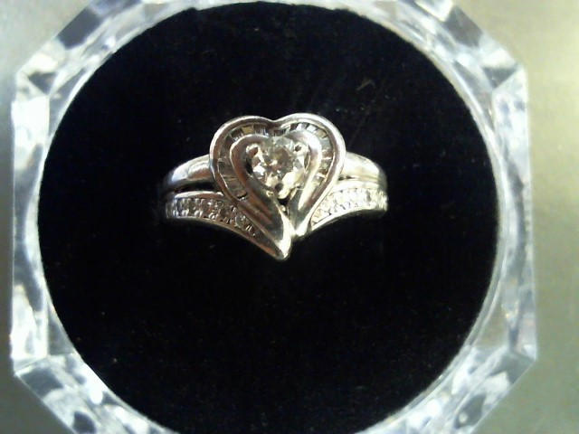 Lady's Silver-Diamond Ring 32 Diamonds .51 Carat T.W. 925 Silver 4g Size:6