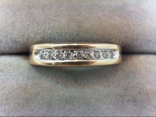 Lady's Diamond Wedding Band 9 Diamonds .09 Carat T.W. 14K Yellow Gold 2.2g