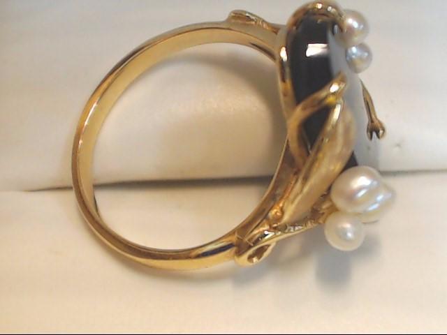 Black Stone Lady's Stone Ring 14K Yellow Gold 4.6g Size:6.5