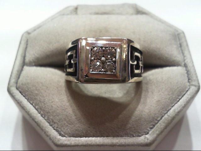 Gent's Silver-Diamond Ring 4 Diamonds .08 Carat T.W. 925 Silver 16.6g