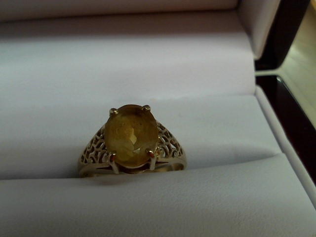 Synthetic Citrine Lady's Stone Ring 10K Yellow Gold 2.2g
