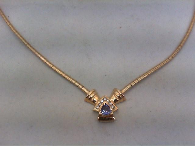 Tanzanite Gold-Diamond & Stone Pendant 7 Diamonds .14 Carat T.W.