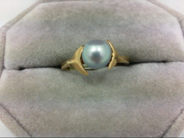 Pearl Lady's Stone Ring 14K Yellow Gold 1.8g Size:7