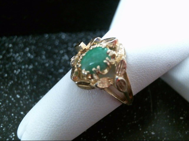 Green Stone Lady's Stone Ring 14K Yellow Gold 3.4g Size:6.5