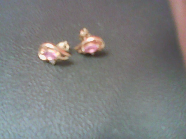 Pink Stone Gold-Stone Earrings 14K Yellow Gold 1.4g