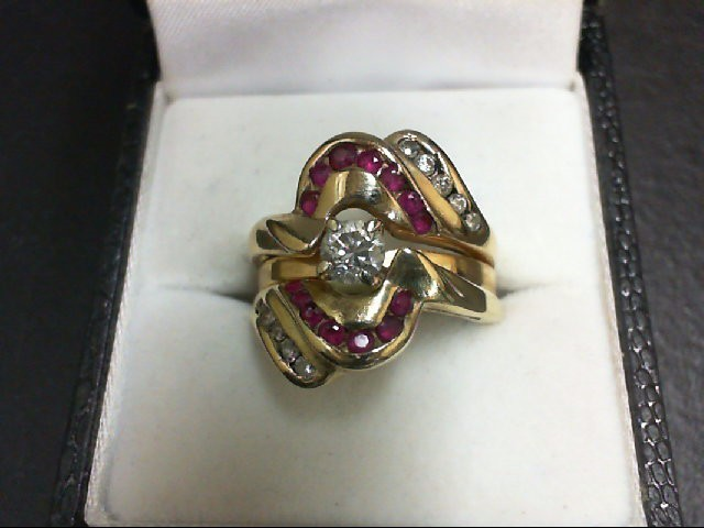 Ruby Lady's Stone & Diamond Ring 11 Diamonds 0.48 Carat T.W. 14K Yellow Gold 8.9
