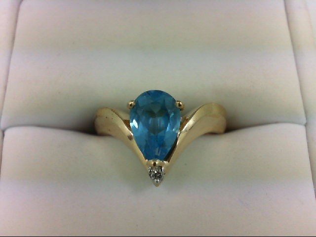 Blue Topaz Lady's Stone & Diamond Ring 0.02 CT. 14K Yellow Gold 3.2g